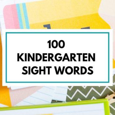 100 Kindergarten Sight Words Free Printable