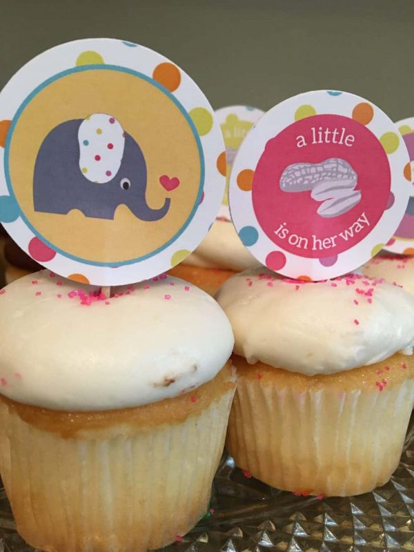 Peanut and Elephant Baby Shower cupcake toppers