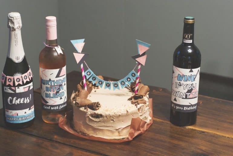 Abstract Birthday cake topper and wine labels