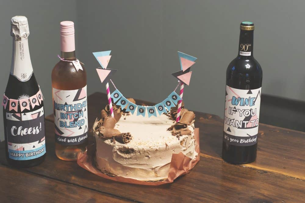Birthday Btch Decorations For A Sassy Party Abstract Cake Topper And Wine Labels