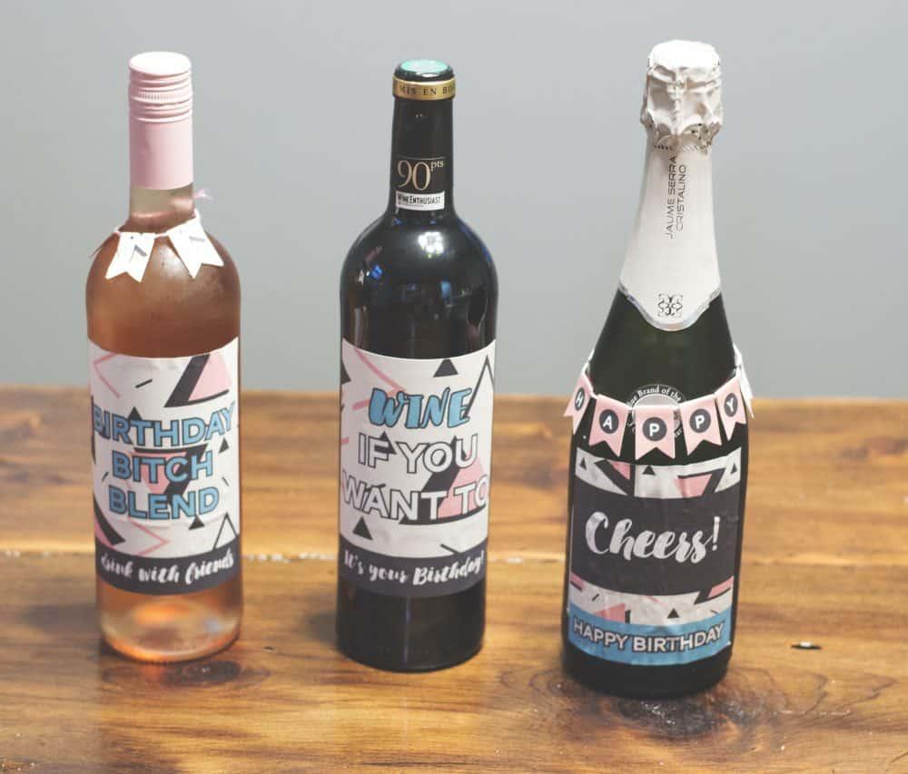 Abstract Birthday Wine Labels by Elva M Design Studio