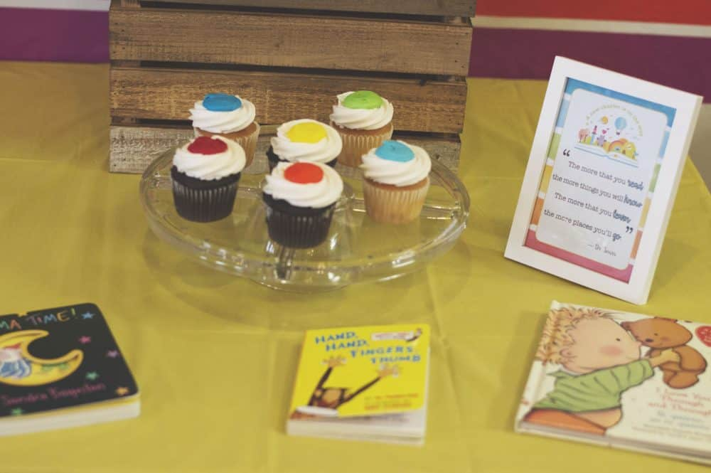 Rainbow Cupcakes at Book Theme Baby Shower