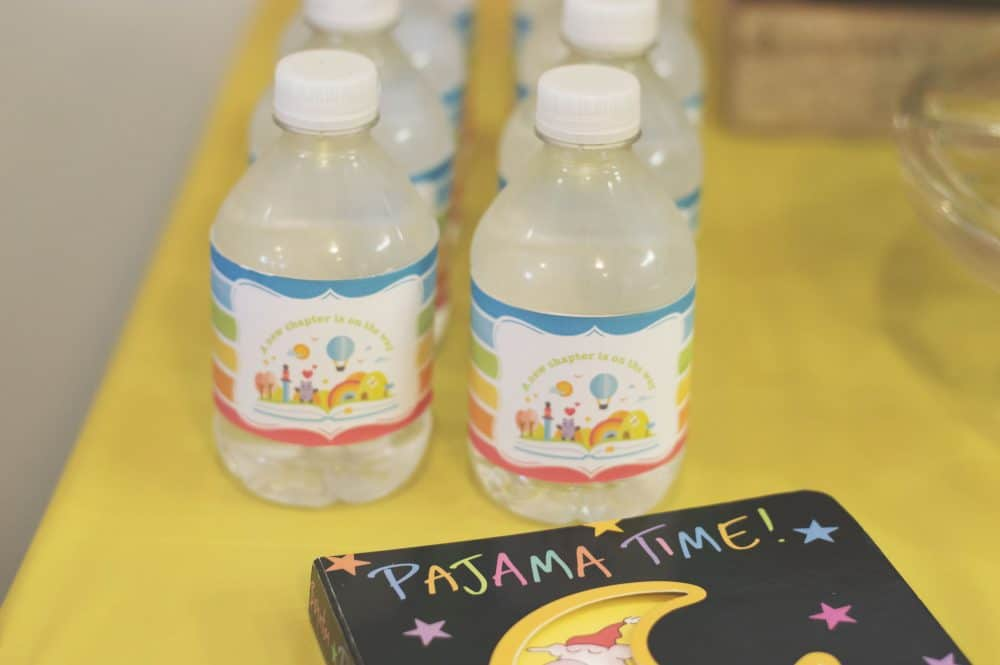 Rainbow Book Baby Shower Water Bottle Wraps
