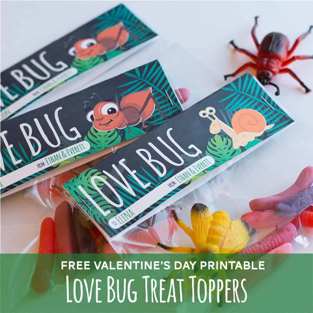 Free printable valentines treat topper