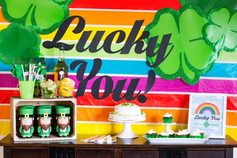 Lucky You St. Patrick's Day Party Table closeup