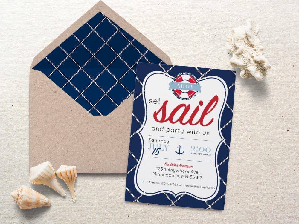 Nautical Party Invite by Elva M Design Studio