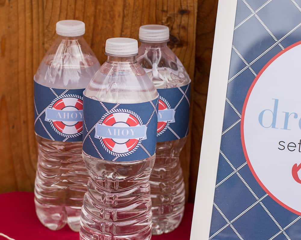Nautical Printable Party water bottle wraps