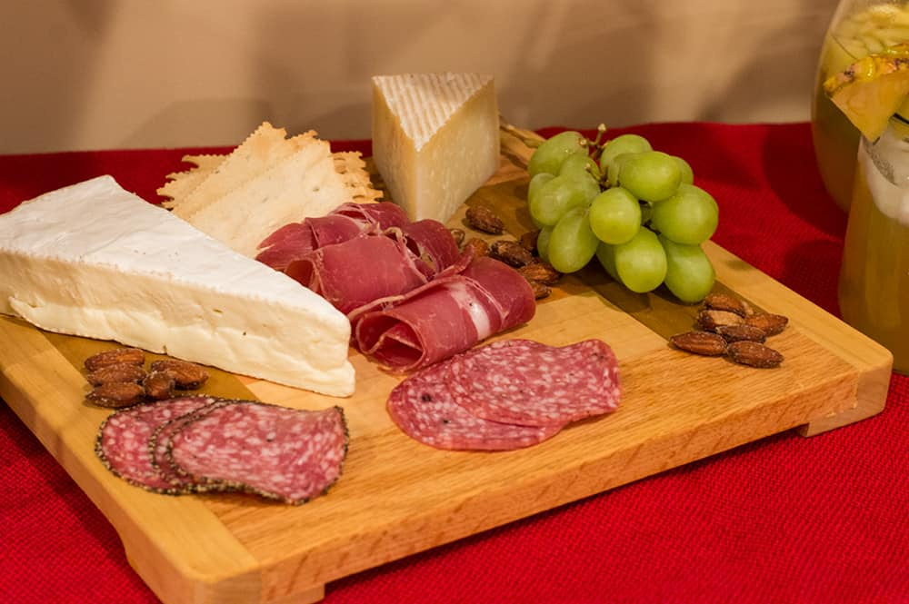 Create a charcuterie tray for easy snacking at your party