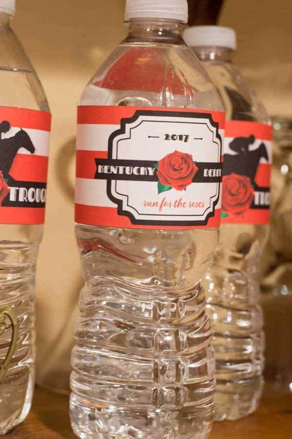 Kentucky Derby Party Water Bottle Labels