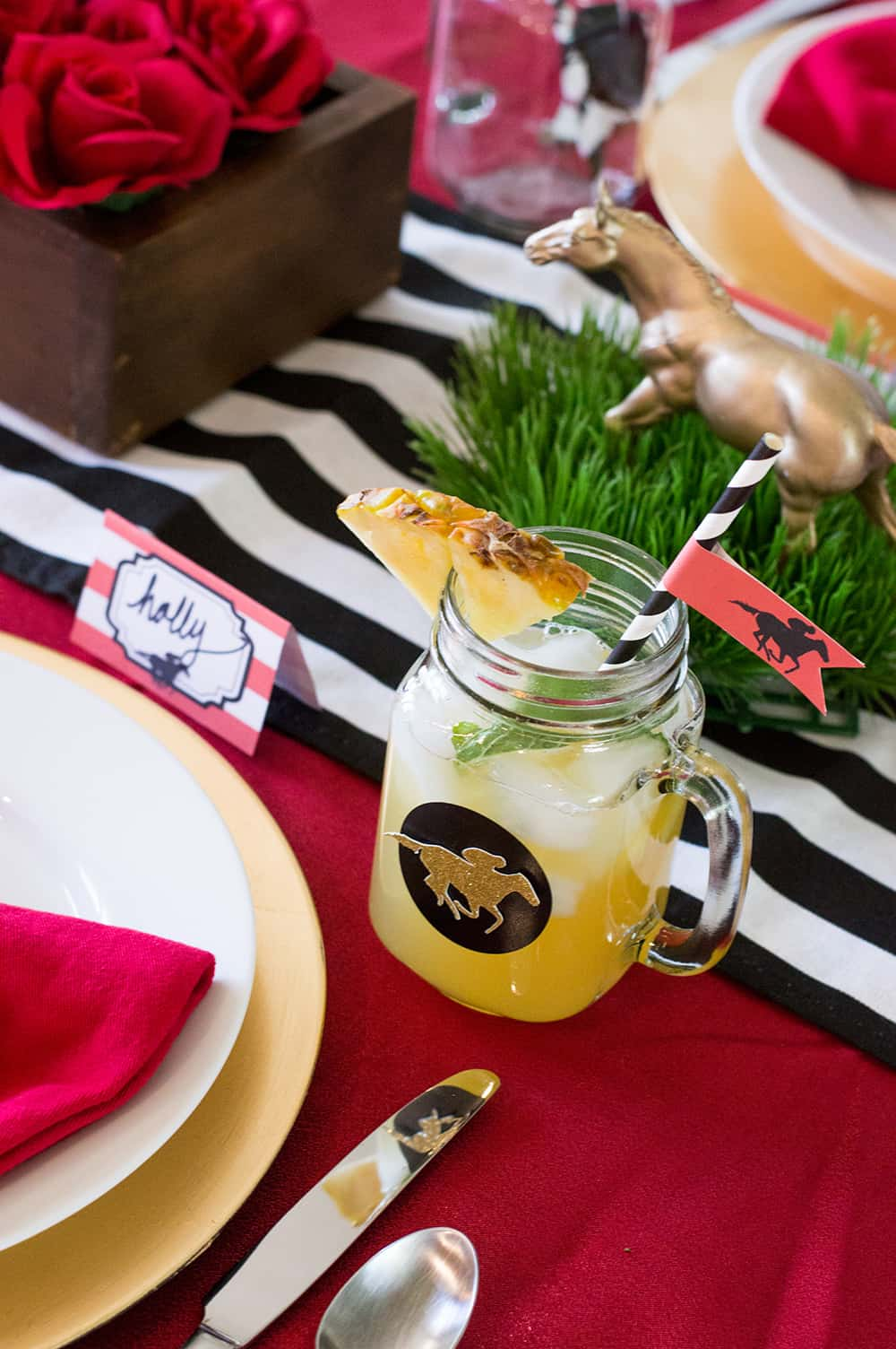 Kentucky Derby Pineapple Mint Julep Sangria | Elva M Design Studio