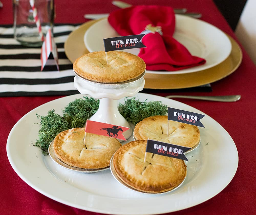 Kentucky Derby Party Pies with free flag printable available at elvamdesign.com