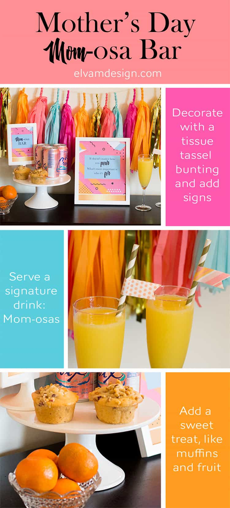 Throw a Mother's Day Mom-osa Bar with tips from Elva M Design Studio