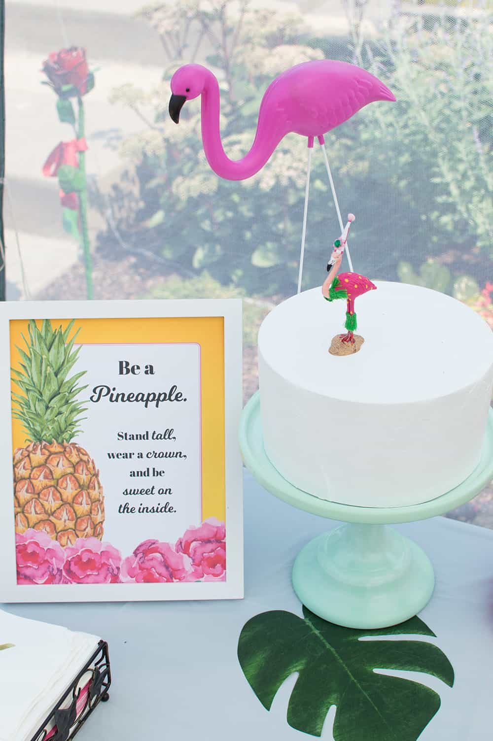 Flamingo Cake and Pineapple Party Sign