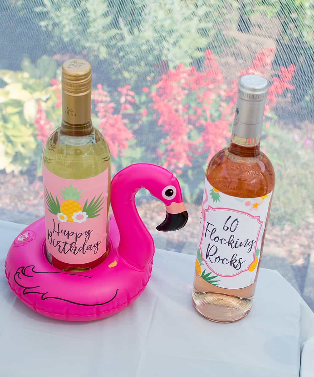 Flamingo Floatie and Custom Wine Labels