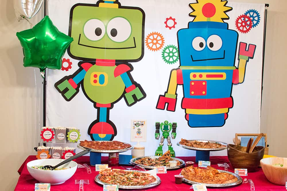 Robot Birthday Food Table styled by Elva M Design Studio