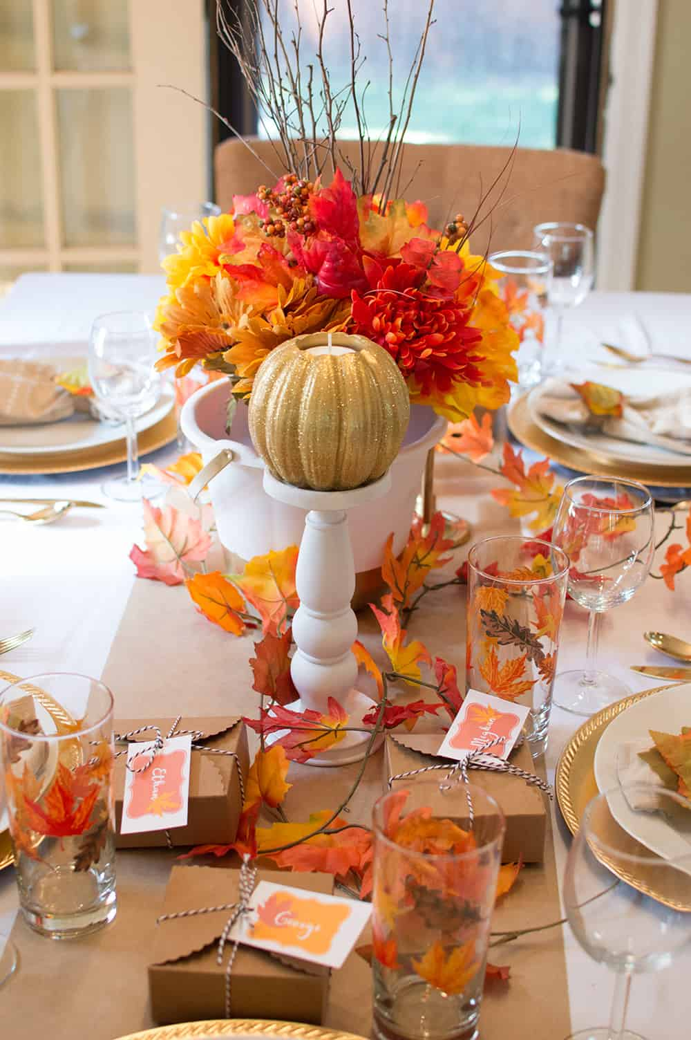 Fall Candlesticks with Pumpkin Candles