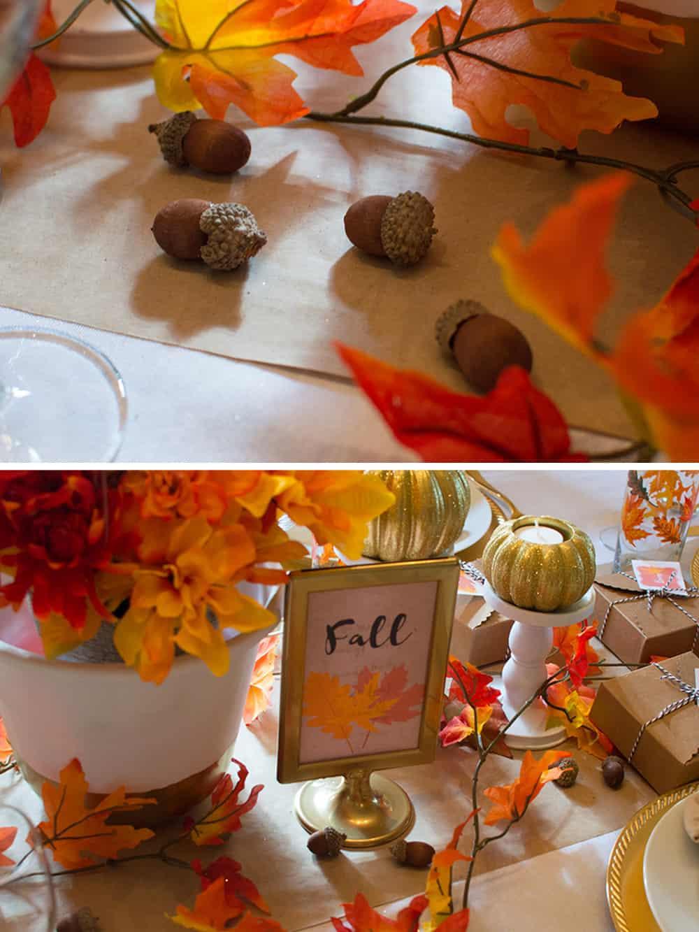 Acorn details on this Festive Fall Tablescape from Elva M Design Studio