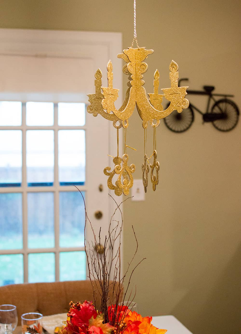 Gold Chandelier party prop from Oriental Trading