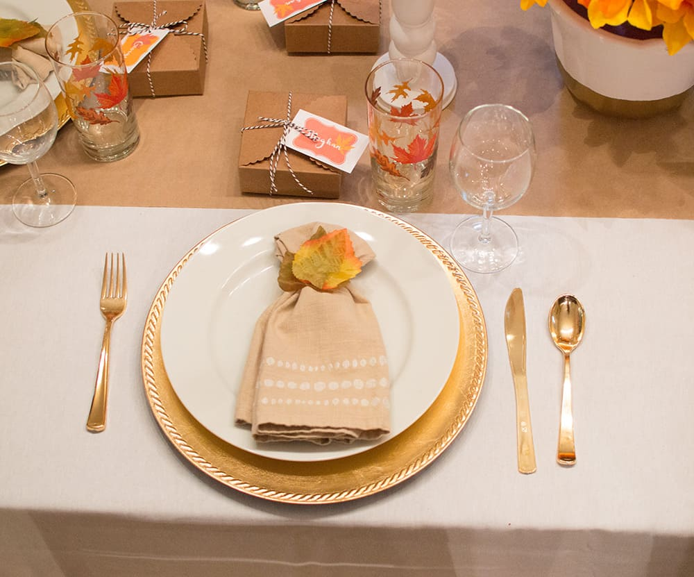 Festive Fall Thanksgiving Table Place setting