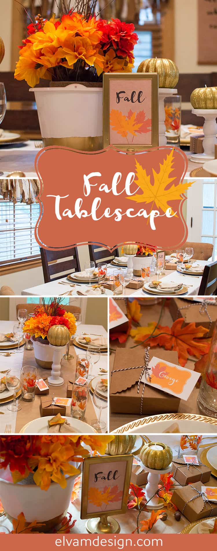 Recreate this Festive Fall Tablescape from Elva M Design Studio with products from Oriental Trading