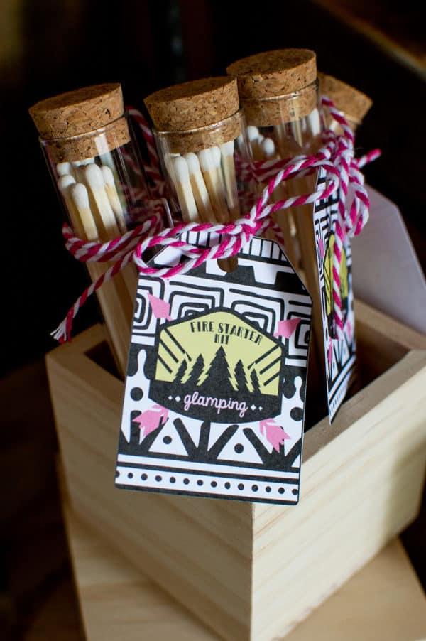 Girls Gone Glamping Fire starter kit favors