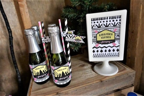 Girls Gone Glamping Hydration Station with Champagne