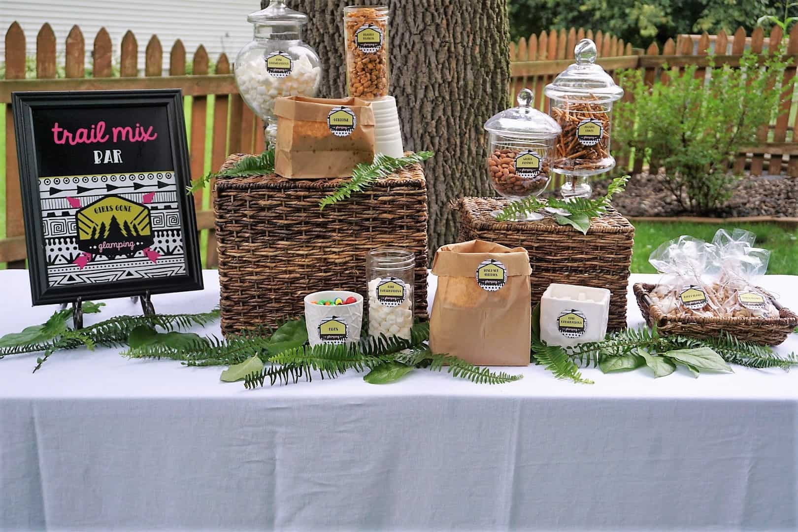 Backyard Glamping Party Trail Mix Bar