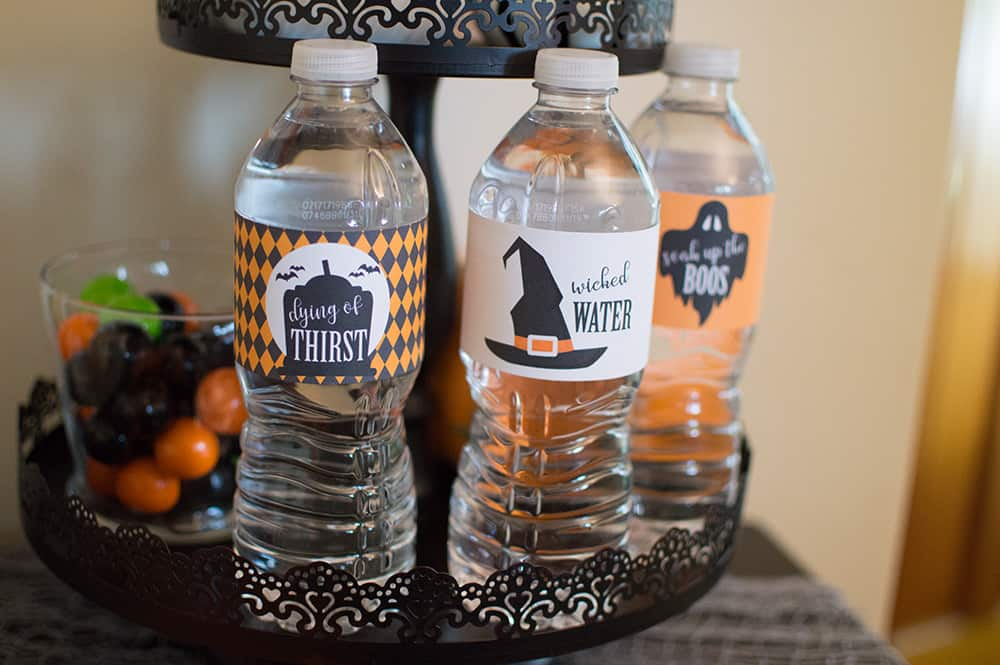 Halloween water bottle labels from Elva M Design Studio