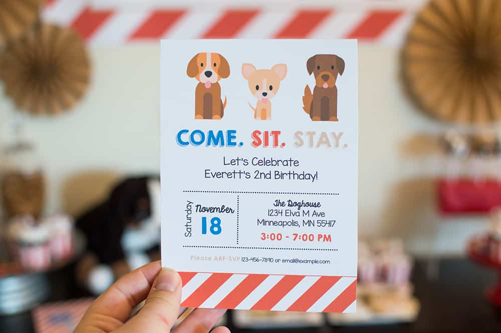 Puppy Party Birthday Invitation by Elva M Design Studio
