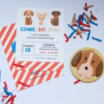 Puppy Party Invitation and custom sugar cookie styled by Elva M Design Studio