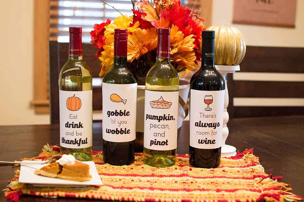 Set of 4 Free Thanksgiving Wine Bottle Labels from Elva M Design Studio