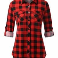 Women's Button Down Plaid Shirt with Roll up Sleeves