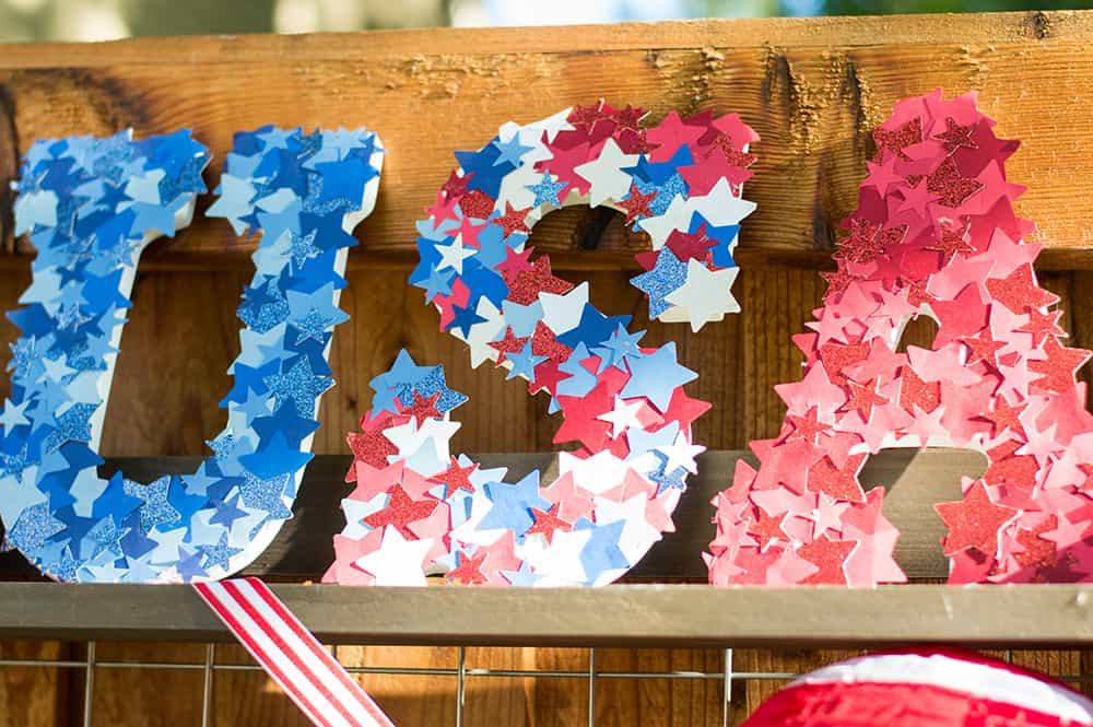 USA letters on display at 4th of July celebration