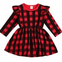 Baby Girls Red Plaid Long Sleeve Dress