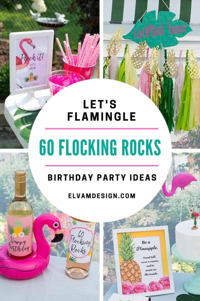 60 flocking rocks - pineapple and flamingo themed birthday party