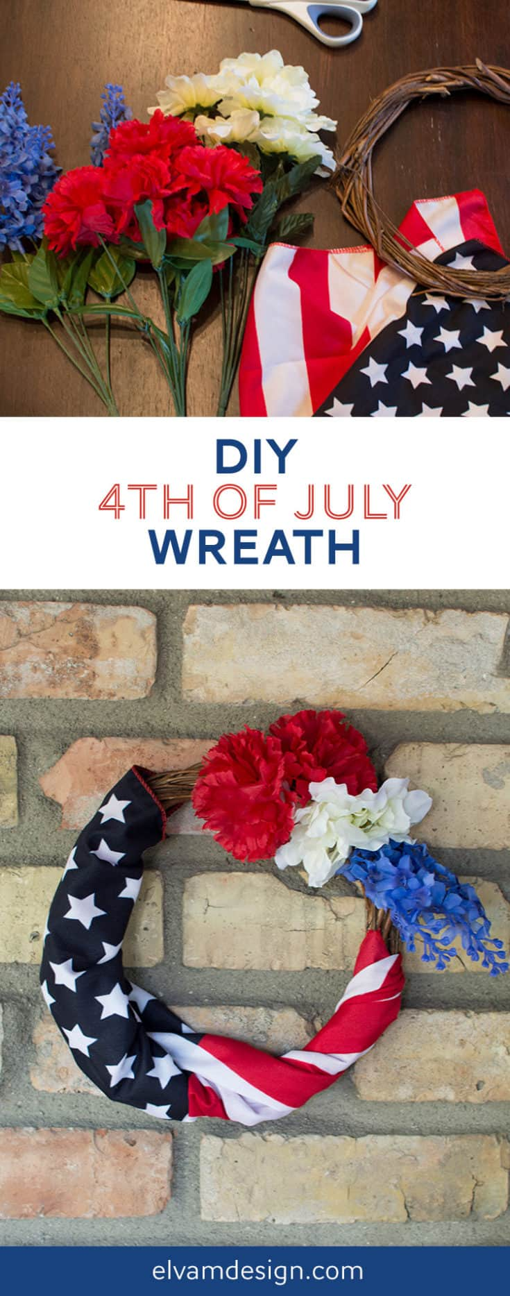 Only 15 minutes and $5. needed to make a simple 4th of July wreath to decorate your home with Dollar Store items. Tutorial and details at elvamdesign.com. #4thofjuly #4thofjulywreath #crafts