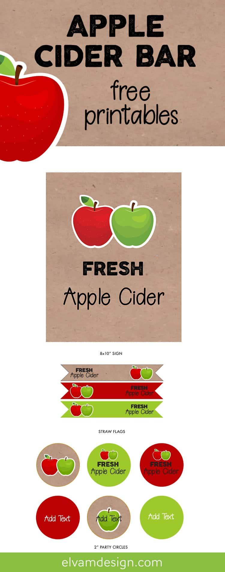 Free Fall Apple Cider Bar Printable from Elva M Design