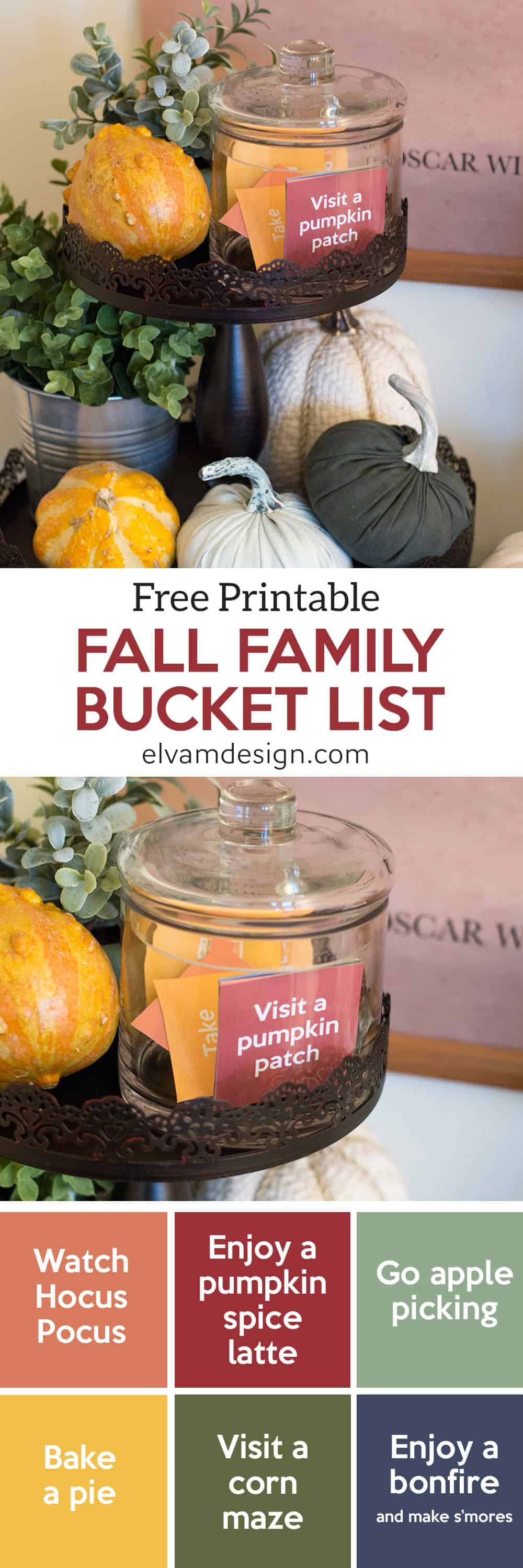 Free Fall Family Bucket List Printable from Elva M Design includes fun Fall activities to do as a family.