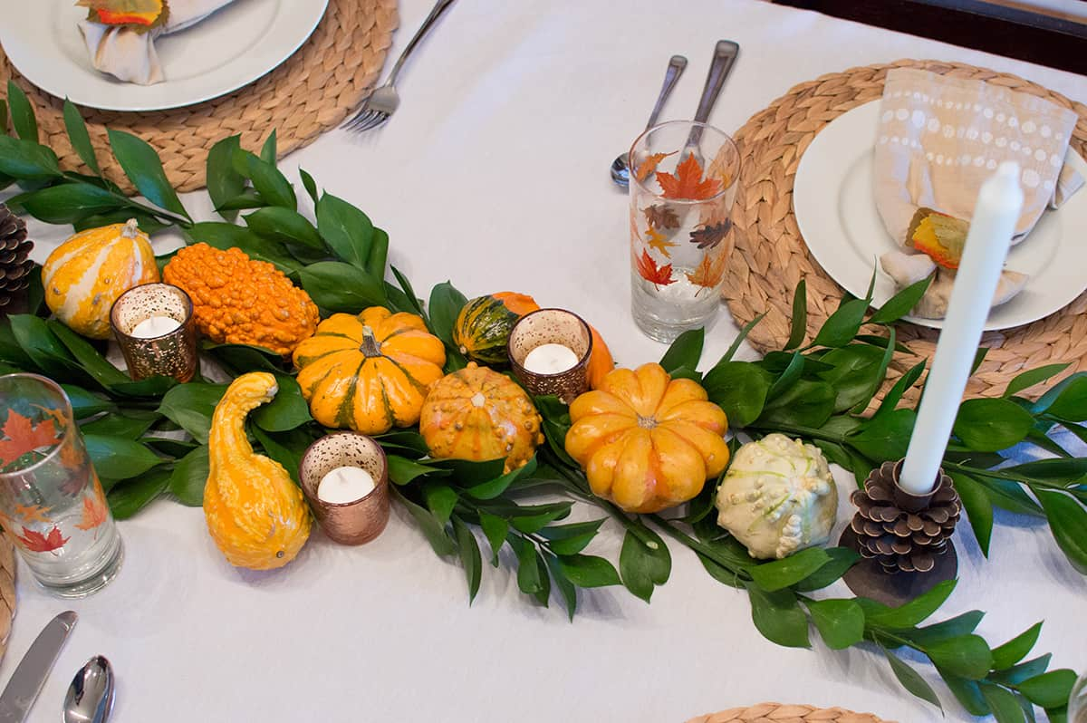 Overhead view of the Fall centerpiece