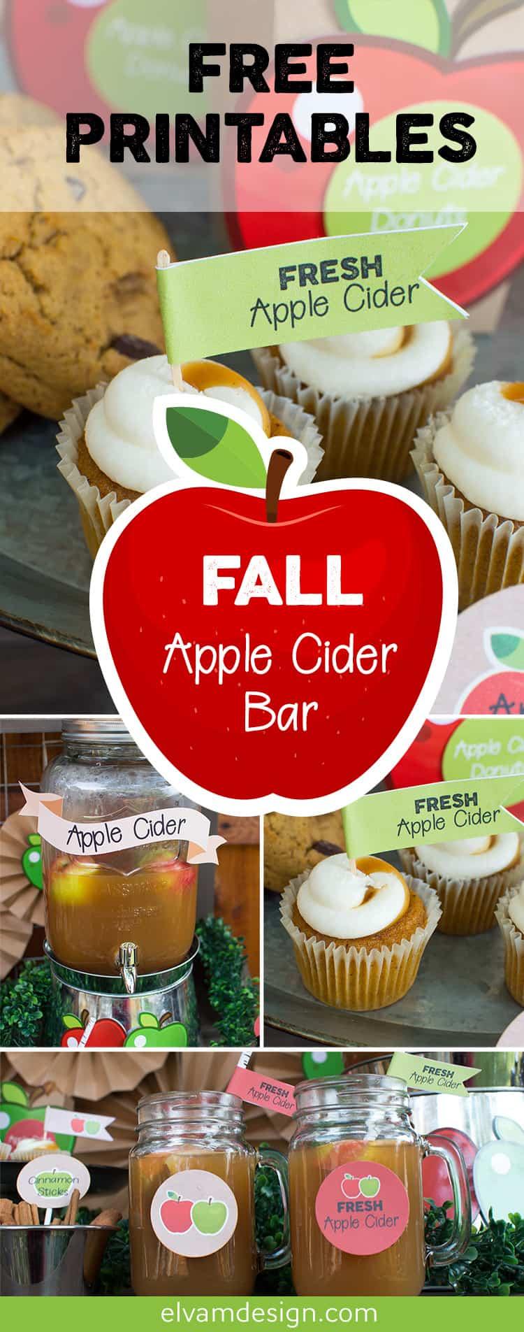 Free Fall Apple Cider Bar Printables from Elva M Design Studio