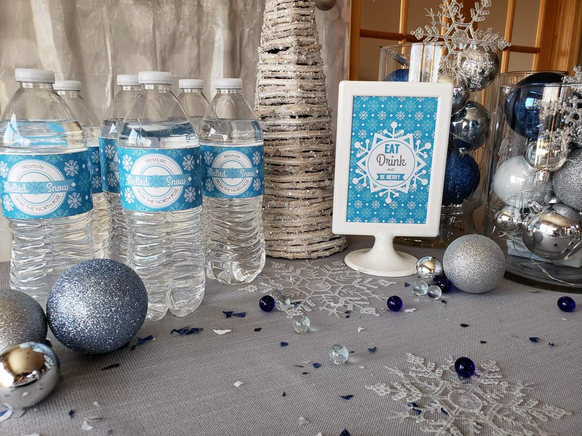 Winter Wonderland party water bottle wraps and sign free printables