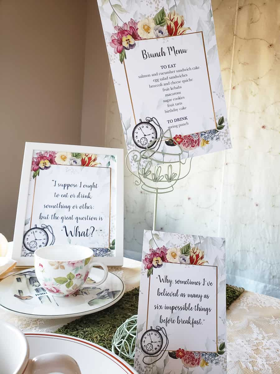 Alice in Wonderland brunch menu and party signs