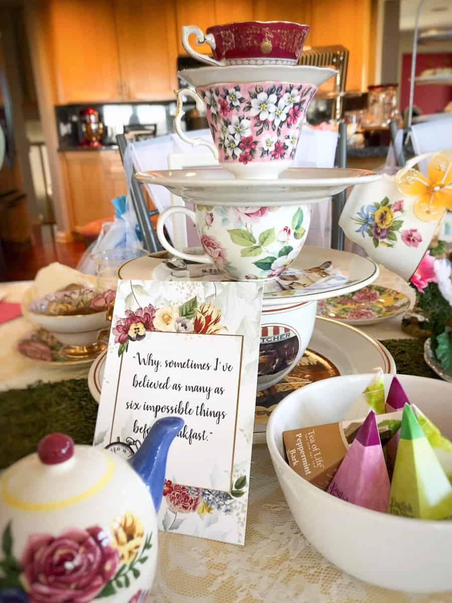 Alice in Wonderland Tea Cup Centerpiece