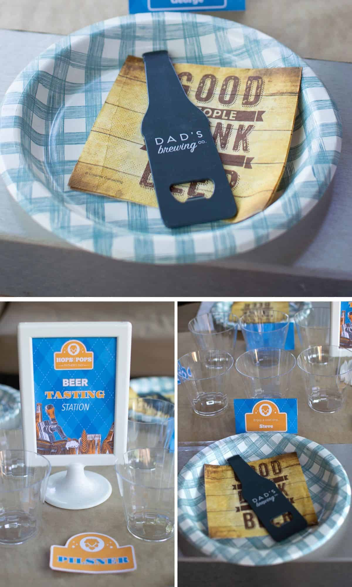 Father's Day Beer Tasting Station collage