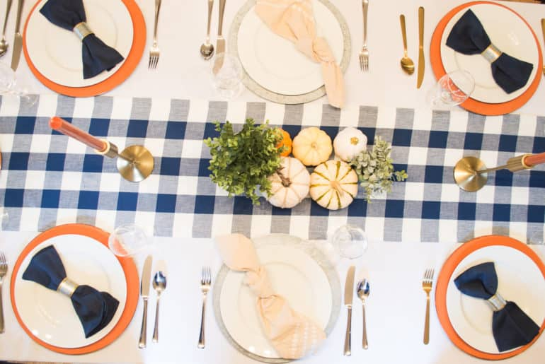Blue Buffalo Plaid Table Runner