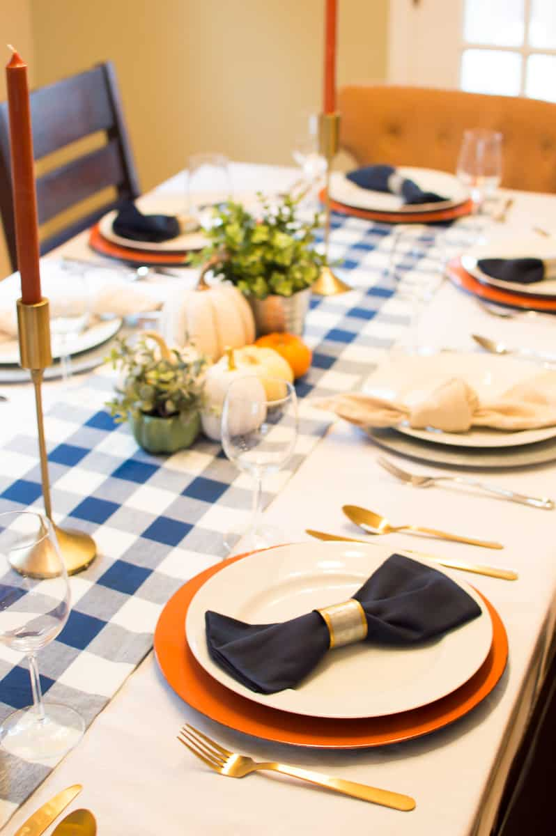 Thanksgiving place setting with blue and orange