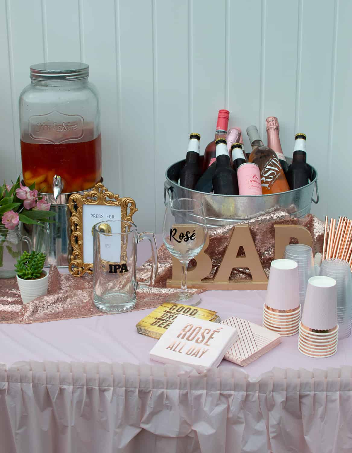 Rosé and IPA Wedding Shower Drinks Table
