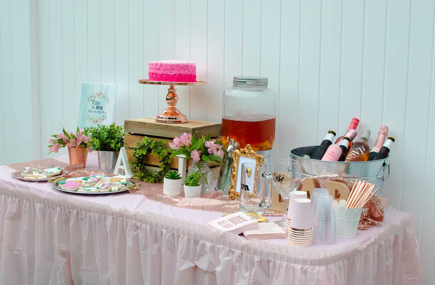 Rosé and IPA Wedding Shower Dessert and Drinks Table side view