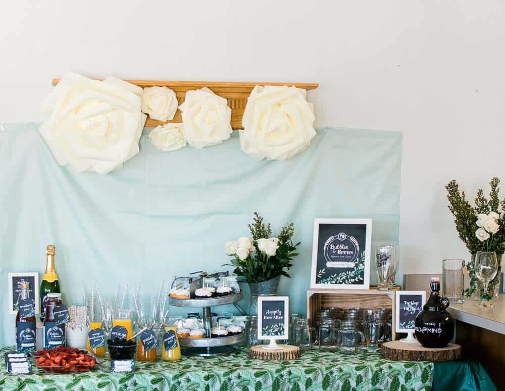 bubbles and brews dessert table