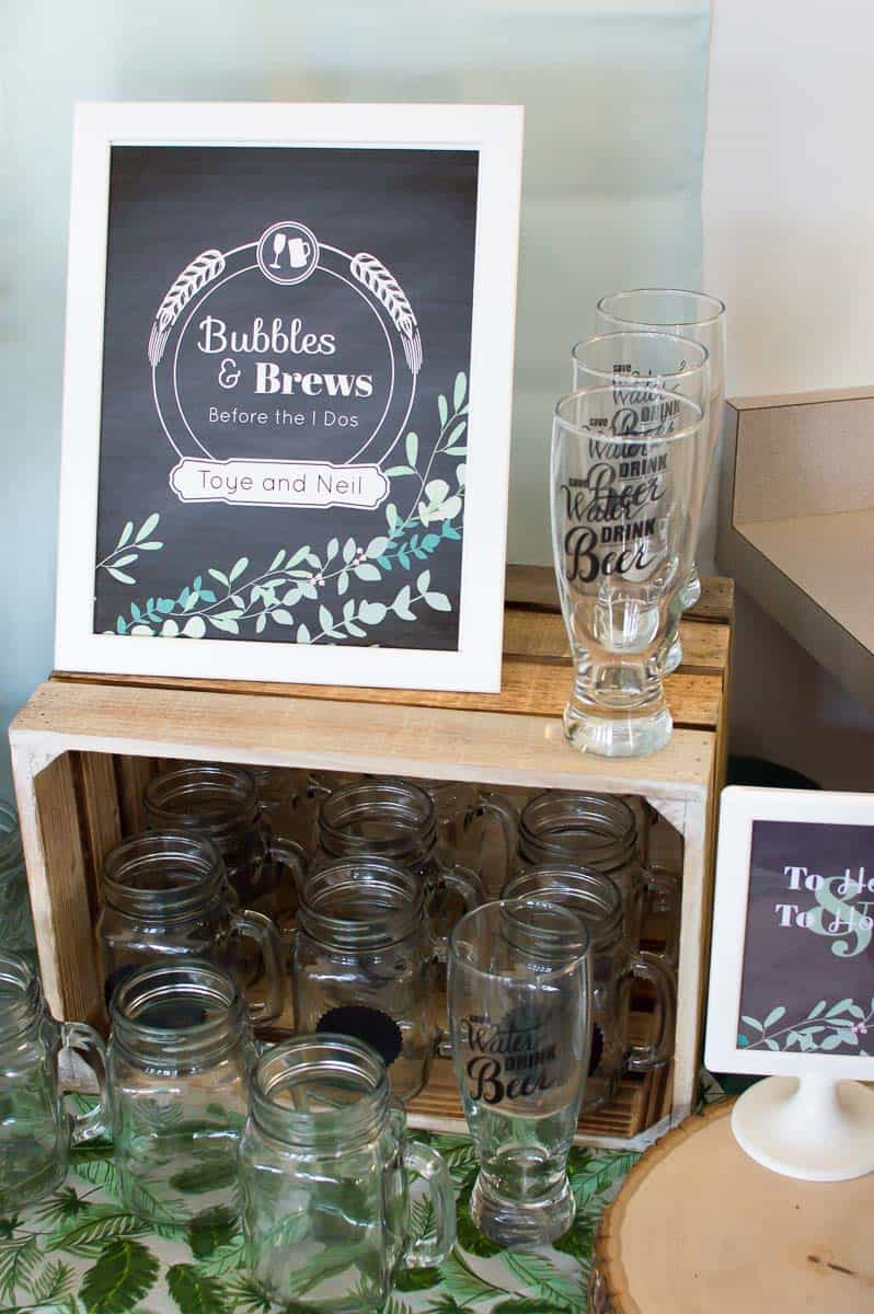 Drinking Glasses for Beer Themed Bridal Shower